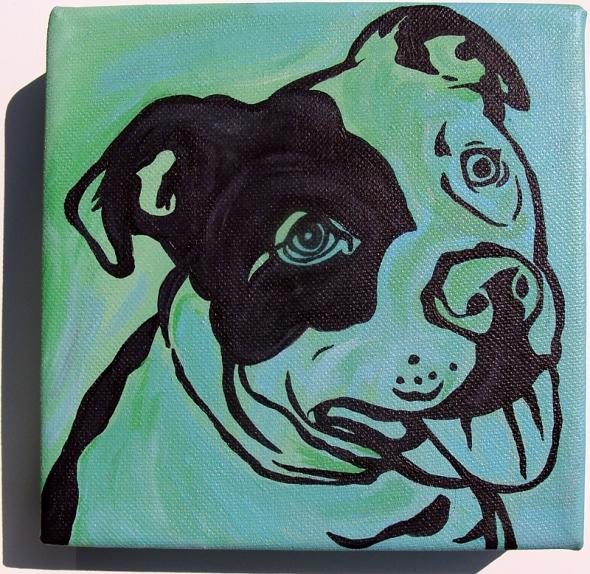 pit bull dog art painting