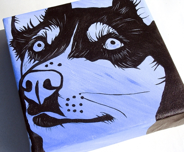 husky dog art painting