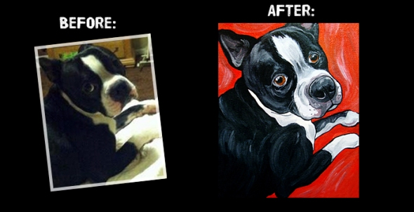 Boston Terrier Dog Art Painting by Steph Fitzsimmons