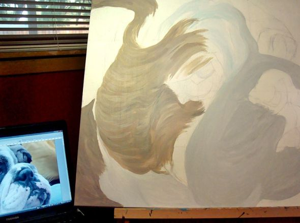 Big Bulldog Painting In Progress 9/16/2012