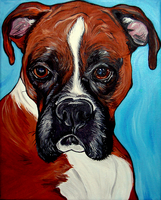 dog art, Oscar, boxer, boxer art, boxer painting, boxer portrait, dog portrait, WOOF Factory