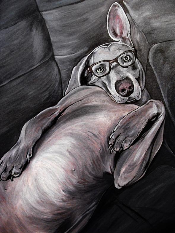 Weimaraner Dog Painting