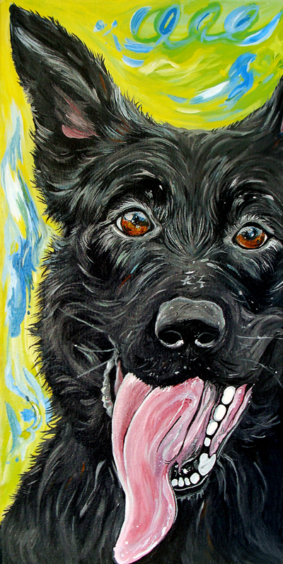 Black German Shepherd, 10x20
